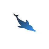 Вектор изолировал вниз - смотреть на дельфина с славным градиентом Стоковые Фотографии RF