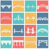 Вектор изолировал установленные значки мостов стоковые фотографии rf