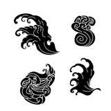 Вектор изолята дизайна татуировки волны Стоковые Фото
