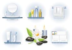 вектор иконы ванны установленный Стоковое Изображение RF