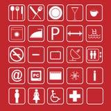 вектор иконы гостиницы установленный Стоковая Фотография