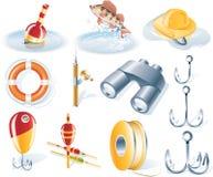 вектор иконы рыболовства установленный Стоковое Изображение