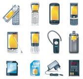вектор иконы установленный мобильными телефонами Стоковые Изображения RF