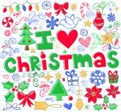 вектор иконы doodle рождества установленный схематичный Стоковая Фотография