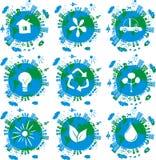 вектор икон глобусов eco земли принципиальной схемы Стоковые Изображения RF