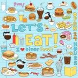 вектор иллюстрации еды doodles обедающего установленный Стоковая Фотография
