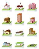 вектор иллюстрации иконы здания 3d Стоковые Фото