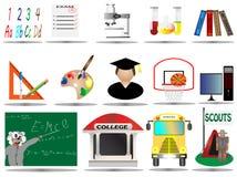 вектор иллюстрации иконы образования установленный Стоковая Фотография