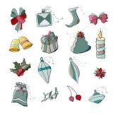 вектор иллюстрации рождества установленный орнаментами иллюстрация вектора