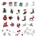вектор иллюстрации рождества установленный орнаментами иллюстрация штока