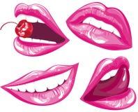 вектор иллюстрации установленный губами Стоковое Изображение