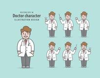 Вектор иллюстрации характера доктора на зеленой предпосылке Medica Стоковое Изображение