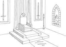 Вектор иллюстрации эскиза графического замка комнаты трона внутренний черный белый средневековый Стоковые Фото