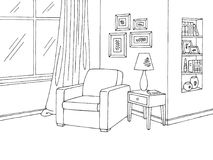 Вектор иллюстрации эскиза графического черного белого кресла живущей комнаты внутренний Стоковое Фото