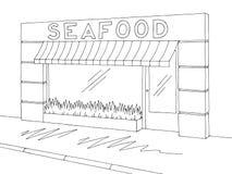 Вектор иллюстрации эскиза магазина магазина морепродуктов внешний графический черный белый Стоковая Фотография
