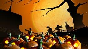 вектор иллюстрации halloween установленный тыквами иллюстрация вектора
