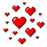 Вектор искусства пиксела красными детализированный сердцами изолированный Бесплатная Иллюстрация
