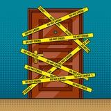 Вектор искусства шипучки плана двери места преступления Стоковые Фото