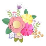 Вектор и дизайн иллюстрации цветки ремесла бумажные, весна, осень, свадьба и букет Валентайн праздничный флористический, яркое па иллюстрация вектора