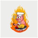 Вектор иллюстрации барбекю с цыпленком и свининой Стоковые Фото