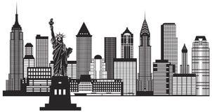 Вектор иллюстрации горизонта Нью-Йорка черно-белый Стоковые Фото