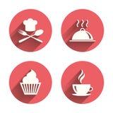 вектор иллюстрации икон еды конструкции вы Символ пирожного булочки близкая вилка сделала сталь ложки вверх иллюстрация вектора