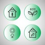 вектор иллюстрации икон eco установленный Стоковое Изображение RF