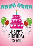 Вектор иллюстрации карточки плаката графический c днем рожденья Стоковые Фото