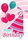 Вектор иллюстрации карточки плаката графический c днем рожденья Стоковые Изображения
