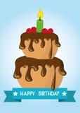 Вектор иллюстрации карточки плаката графический c днем рожденья Стоковые Фотографии RF