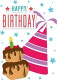 Вектор иллюстрации карточки плаката графический c днем рожденья Стоковое Фото