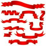 вектор иллюстрации красными установленный тесемками Стоковое Изображение