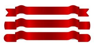 вектор иллюстрации красными установленный тесемками стоковые изображения