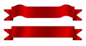 вектор иллюстрации красными установленный тесемками Стоковая Фотография RF