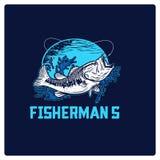 Вектор иллюстрации логотипа рыбной ловли Стоковое Изображение RF