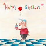 вектор иллюстрации приветствию поздравительой открытки ко дню рождения eps10 Стоковая Фотография