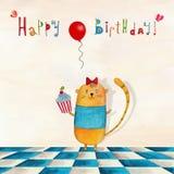 вектор иллюстрации приветствию поздравительой открытки ко дню рождения eps10 Стоковое Изображение RF