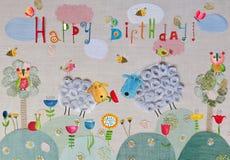 вектор иллюстрации приветствию поздравительой открытки ко дню рождения eps10 Стоковое Фото