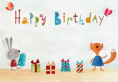 вектор иллюстрации приветствию поздравительой открытки ко дню рождения eps10 Стоковые Изображения RF