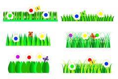 вектор иллюстрации травы градиента установленный Стоковые Изображения