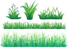 вектор иллюстрации травы градиента установленный Стоковое Изображение