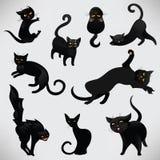 вектор иллюстрации черных котов установленный бесплатная иллюстрация
