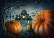 вектор иллюстрации halloween установленный тыквами стоковая фотография