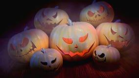 вектор иллюстрации halloween установленный тыквами сток-видео