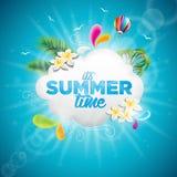 Вектор иллюстрация праздника временени типографская с тропическими заводами, цветком и горячим воздушным шаром на голубой предпос Стоковая Фотография RF