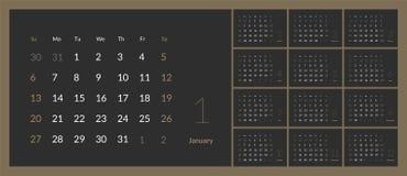 Вектор календаря 2019 Новых Годов в стиле чистой минимальной таблицы простом иллюстрация штока