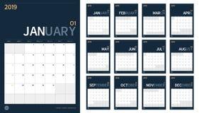 Вектор календаря 2019 Новых Годов установил в чистое минимальное simp таблицы Стоковые Изображения