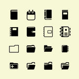 вектор канцелярских принадлежностей офиса иллюстрации икон установленный Стоковые Изображения RF