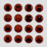 вектор канцелярских принадлежностей офиса иллюстрации икон установленный Стоковые Изображения