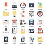 вектор канцелярских принадлежностей офиса иллюстрации икон установленный Стоковое Фото
